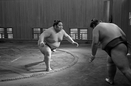 Japan, Tokyo, Ryogoku, Hard morning training at Sumo stable : Stock Photo