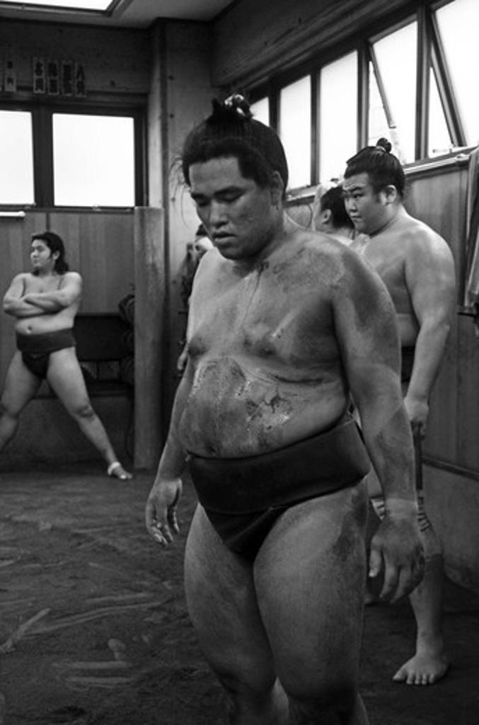 Stock Photo: 1938-3597 Japan, Tokyo, Ryogoku, Hard morning training at Sumo stable