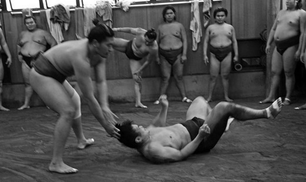 Japan, Tokyo, Ryogoku, Hard morning training at Sumo stable : Stock Photo