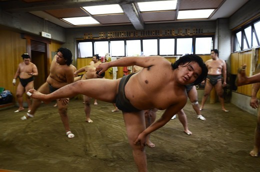 Stock Photo: 1938-3599 Japan, Tokyo, Ryogoku, Hard morning training at Sumo stable