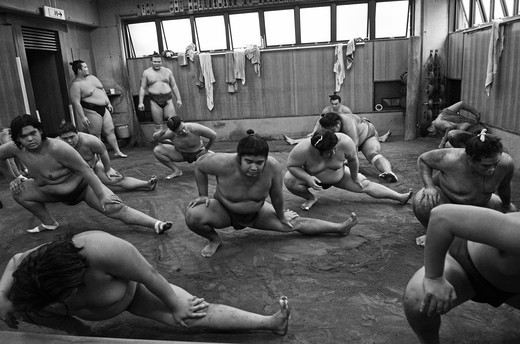 Stock Photo: 1938-3600 Japan, Tokyo, Ryogoku, Hard morning training at Sumo stable