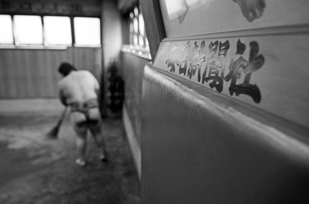 Japan, Tokyo, Ryogoku, Preparations before training at Sumo stable : Stock Photo