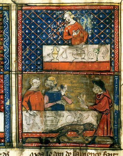 Gotic art 13th Century DOCTRINE CHRETIENNE Gold miniature Everyday life people sitting at the table Spain : Stock Photo