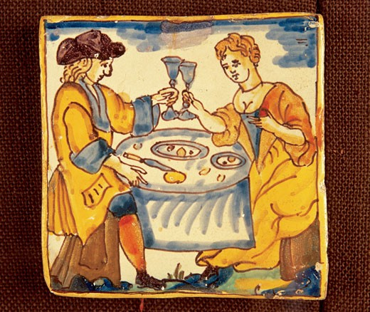 Stock Photo: 1942-1089 Baroque art Spain Pottery piece 17th Century People eating