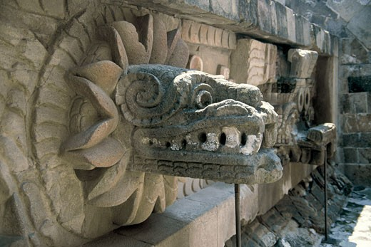 Precolombian Art QUETZALCOATL Pyramid Serpent that represent the Aztek god of the wind Mexico : Stock Photo