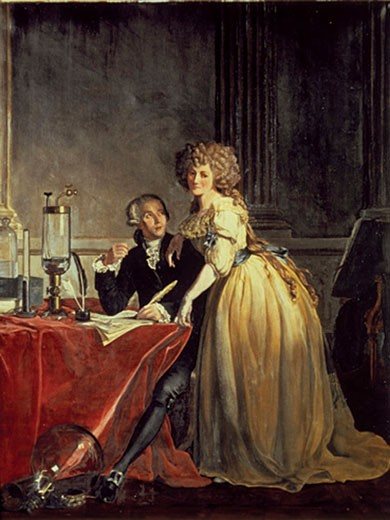 Stock Photo: 1942-1309 LAVOISIER ANTOINE LAURENT DE PARIS 1743-1794 French Chemist who created the Modern Chemistry LAVOISIER and his wife Oil painting