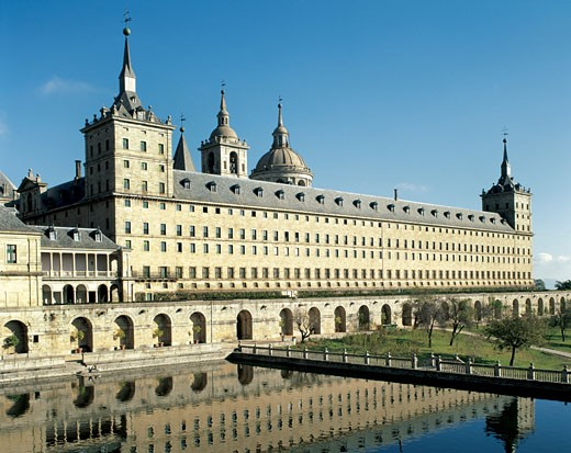 The Renaissance Art 16th Century Spain Saint Lorenzo the royal Monastery Builded by Felipe the second 1557 wish Juan Herrera was in charge of the works when Juan Bautista de Toledo died in 1567 Madrid Spain : Stock Photo
