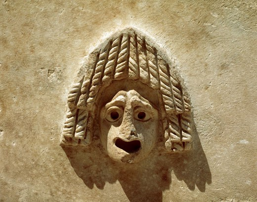 Roman art Turkey Theatral mask in relief AFRODISIA DE CARIA city : Stock Photo