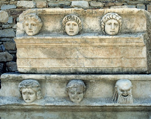 Roman art Turkey Architrave with theatral masks in relief AIRE LIBRE Museum AFRODISIA DE CARIA City : Stock Photo