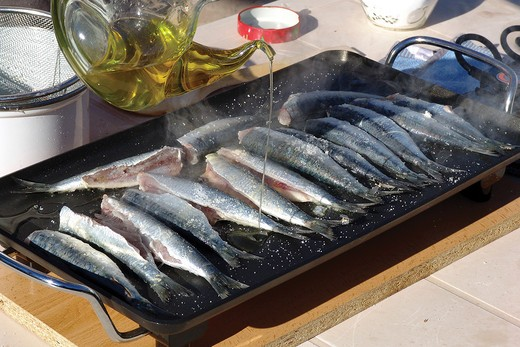 Frying sardines : Stock Photo