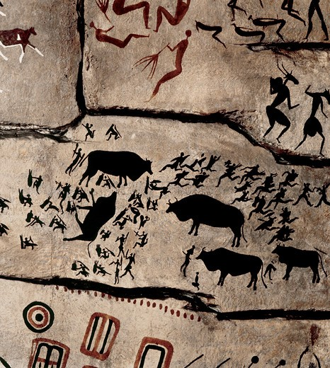 Stock Photo: 1942-1682 Prehistoric Art South Africa Caves painting with hunting representation