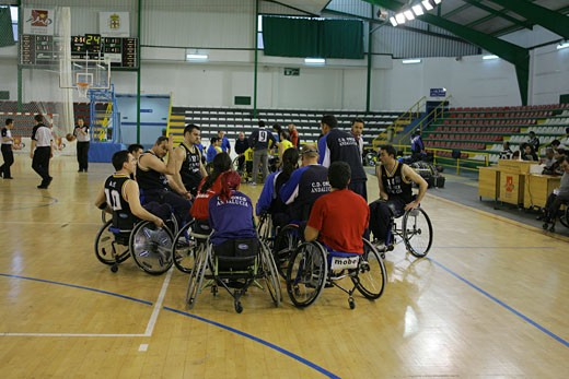 The twenty seventh edition of the Basketball King Cup in wheelchair organized by the Eleven Foundation February 2005 Time out Spain Europe : Stock Photo
