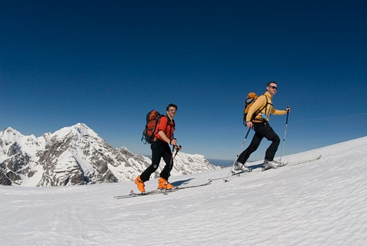 Two male skiers in Gesause National Park : Stock Photo