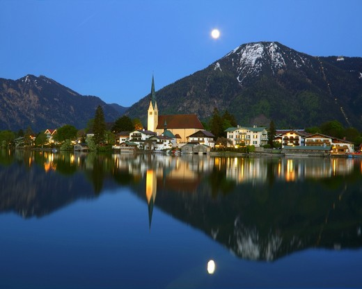 Reflection of a mountain range in water, Wallberg Mountain, Rottach-Egern, Tegernsee, Bavaria, Germany : Stock Photo