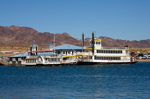 Tourboat in a lake, Lake Mead, Nevada, USA : Stock Photo
