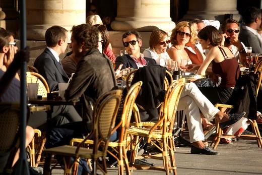 Tourists in a cafe, Place Andre Malraux, Paris, Ile-de-France, France : Stock Photo