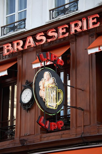 Signboard of a restaurant, Brasserie Lipp, Saint Germain des Pres, Paris, Ile-de-France, France : Stock Photo