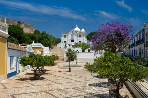 Portugal, The Eastern Algarve, Castro Marim Parish Church And Village Square, Glimpse Of The Castle : Stock Photo