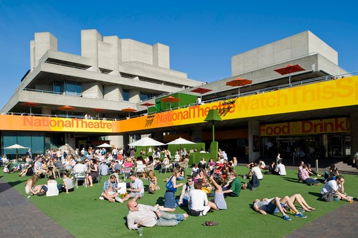 People Enjoy Hot Summer Day By Royal National Theatre, Southbank, London, United Kingdom : Stock Photo