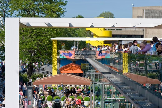 Terrace Bars Busy With People By Royal Festival Hall, Southbank, London, United Kingdom : Stock Photo