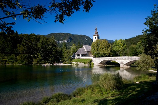 Church Of St John The Baptist, Lake Bohinj, Triglav National Park, Slovenia, Europe : Stock Photo
