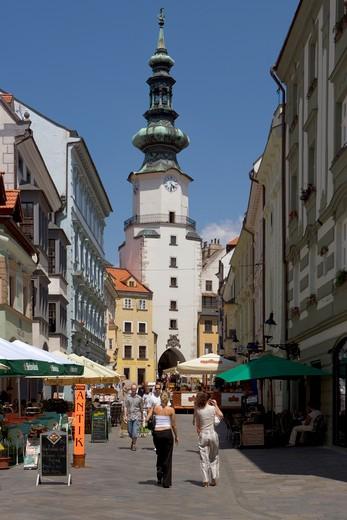 Bratislava, Michalska & St Michael's Gate Spire : Stock Photo