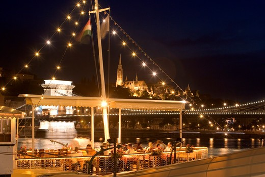 Budapest, Diners on Boat : Stock Photo