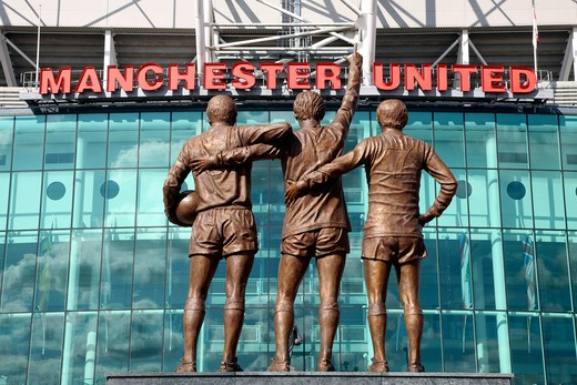 Manchester, Old Trafford, Mufc Bronze Statues Of Manchester United Legends, Sir Bobby Charlton, Denis Law & George Best : Stock Photo