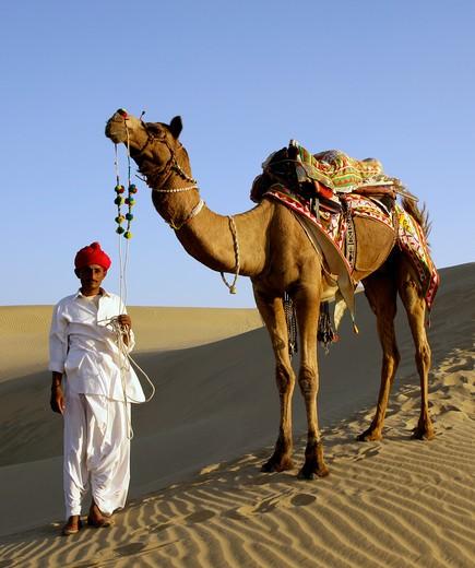 India, Rajasthan Rajput Tribesman & Camel : Stock Photo