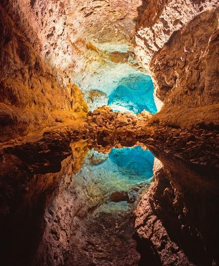 Spain, Lanzarote, Cueva De Los Verdes, (The Cave of the Greens) : Stock Photo