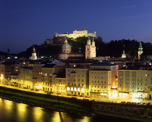 Austria, Salzburg View Towards Castle At Dusk : Stock Photo