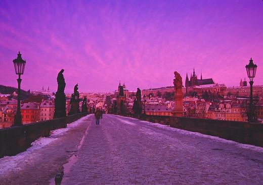 Prague, Charles Bridge : Stock Photo