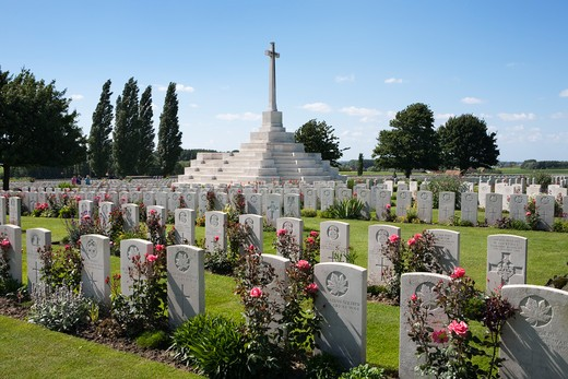 View over Tyne Cot Military Cemetery. First World War cemetery with 11,856 white tombstones. : Stock Photo