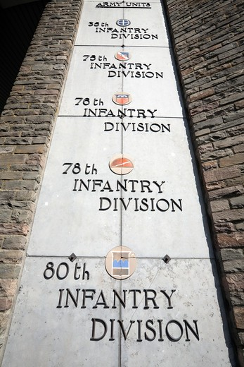 Le Mardasson Memorial detail showing names of US army battalions who fought in the Battle of the Bulge. : Stock Photo