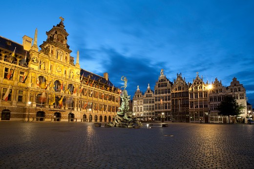 Night shot of the Grote Markt with the Town Hall and Guild Halls. : Stock Photo