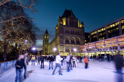 Christmas Ice Skating Rink outside the Natural History Museum. : Stock Photo