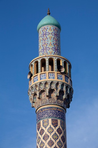 Minaret of the Iranian Mosque. : Stock Photo