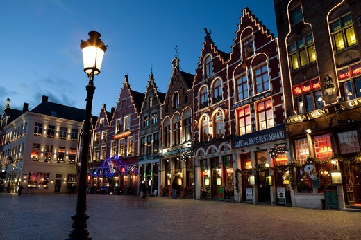 Belgium - West Vlaanderen (Flanders) - Bruges - Restaurants in the Market Square : Stock Photo