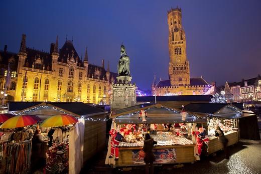 Belgium - West Vlaanderen (Flanders) - Bruges - Christmas Market in the Market Square : Stock Photo