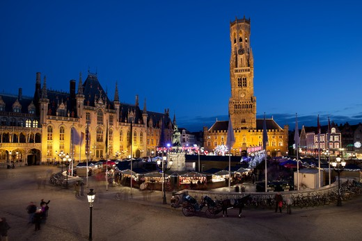 Belgium - West Vlaanderen (Flanders) - Bruges - Christmas Market in the Market Square : Stock Photo