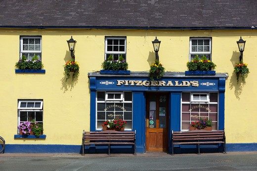 Ireland - County Wicklow - Avoca - Fitzgerald's Irish pub, set in village featured in BBC TV series, Ballykissangel : Stock Photo