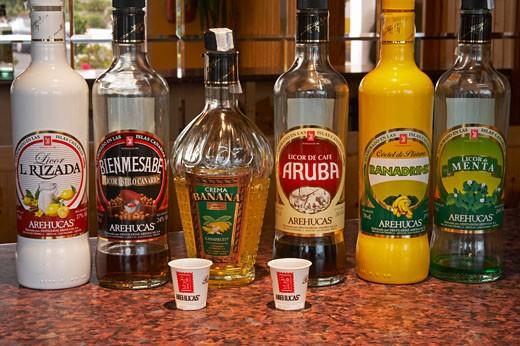 Bottles Of Rum, Arehucas Distillery, Arucas : Stock Photo