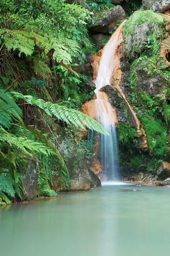 Azores, Caldeira Velha Waterfall Near Ribeira Grande, Sao Miguel Island. : Stock Photo