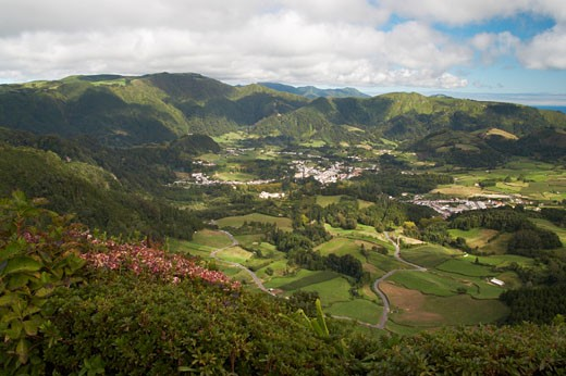 Azores, The Village Of Furnas And Surrounding Countryside, Sao Miguel Island. : Stock Photo