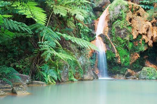 Azores, Caldeira Velha Waterfall Near Ribeira Grande, Sao Miguel Island : Stock Photo