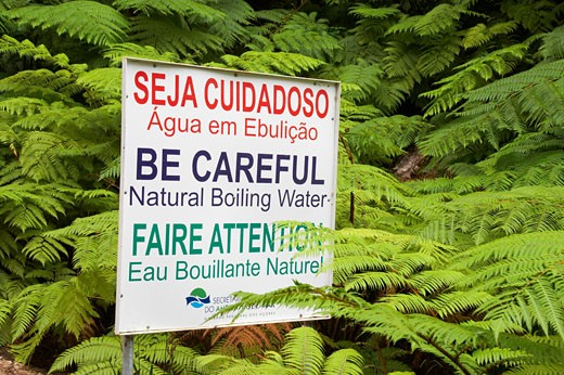 Azores, Warning Sign Near Hot Springs, Caldeira Velha, Sao Miguel Island. : Stock Photo