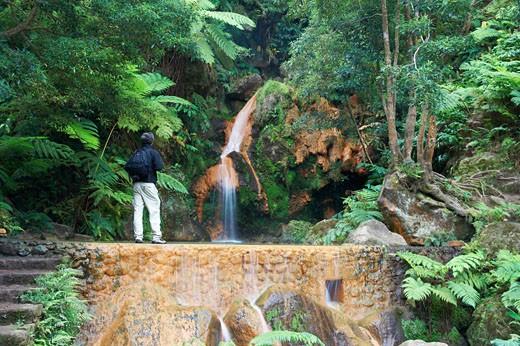 Azores, Tourist Near  Caldeira Velha Waterfall, Sao Miguel Island. : Stock Photo