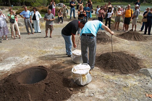 Azores, Cooking Holes Near The Thermal Springs, Furnas, Sao Miguel Island. : Stock Photo