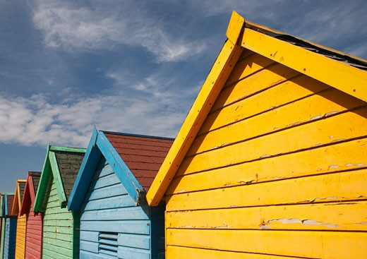 Whitby: Colourful Beach Huts : Stock Photo