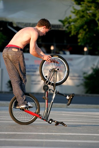 Budapest, Heroes Square, Practising Bike Skills : Stock Photo